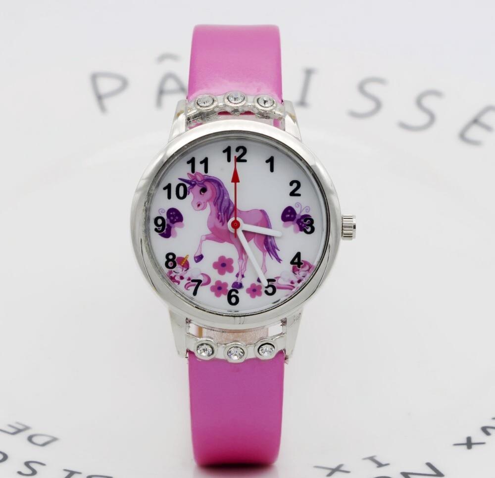 Cute Unicorn Ladies Watch For Kids Girls Boy Leather Wristwatch Casual Dress Fashion Children Learn Time Watch Hot Popular