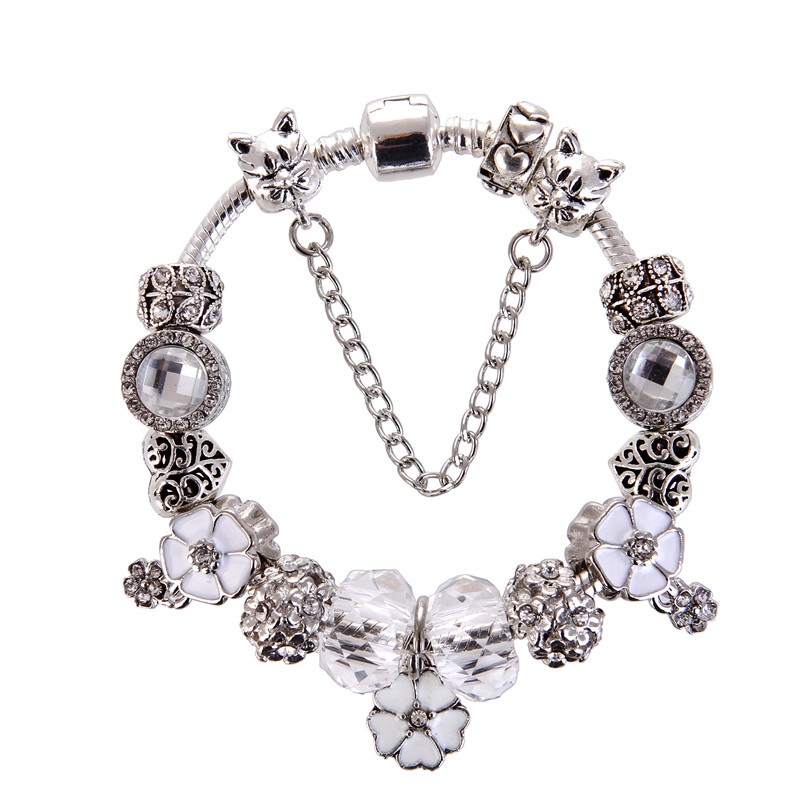 High Quality White Rhinestone Bead Flower Pendant Charm Noble Pretty Europe Fashion Pandora Bracelet For Women/Gril gift jewelry