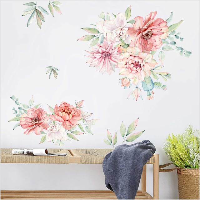 e0bb0dde5 Colorful Spring Flowers Wall Sticker TV Background Sofa Decoration Home  Decor Beautiful Peony Wall Decal 3D
