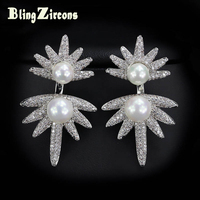 BlingZircons Fashion Korean Style Freshwater Pearl Silver Earrings Micro Paved Cubic Zirconia Crystal 925 Jewelry For