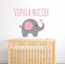 Vinyl Girls Name Sticker Elephant Wall Decal Personalized Nursery Bedroom Decoration Removable AY0111
