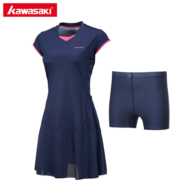 Kawasaki Breathable Tennis Dresses with Shorts for Women Girls Quick Dry 100% Polyester Sports Dress Tennis Clothes SK 172701