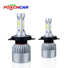 FOXCNCAR S2 COB 72W 8000LM 6500K 12V 24V H7 Turbo Led Car Headlight H11 Led H4 Auto H1 H3 H18 H9 880 9005 9006 880 Hi Lo Beam(China)