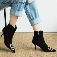 EshtonShero Women Ankle Boots Shoes Woman Thin High Heels Pointed Toe Elegant Black Ladies Motorcycle Sock Boots Size 3 12