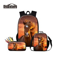 School Bag with Lunch Pouch Pencil Customize Logo Teenagers Latest Designs Red Horse Patterns on Cool Schoolbags for Boys Oxford