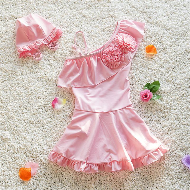 все цены на  Lovely Pink Kids Swimsuit Quality Girls Swimwear Teenagers One-pieces Sweet Skirt Bath Suit Infant Children Beachwear 4-17years  онлайн