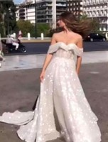 Bling Bling Sequined White Wedding Dresses Turkey With Off Shoulder In Dubai Bridal Gown Beach Style Robe De Marie