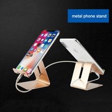 Universal Phone Holder Metal Anti-slip Cell Phone Holders Desktop Desk Mount Phone Stand f