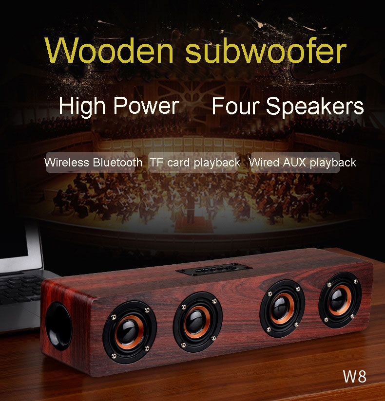 Four horn HIFI Wooden Bluetooth wireless speaker portable Subwoofer bass Wireless receiver FM Handsfree call speaker for music