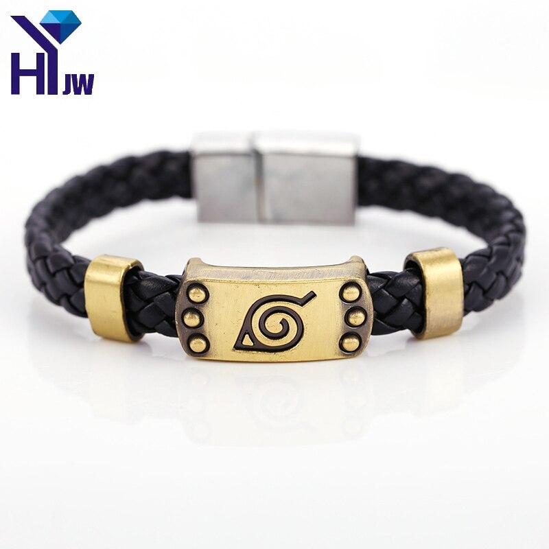 Bracelets en cuir tresse Naruto Anime chaud Bracelets Akatsuki Itachi Konoha Logo Bracelet en alliage bijoux Cosplay