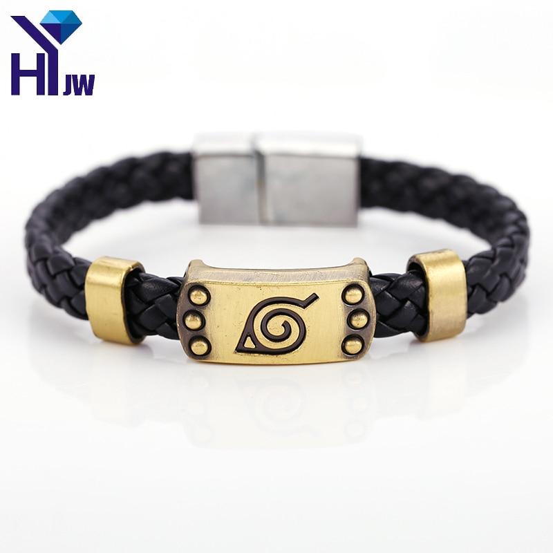 HEYu Hot Anime Naruto Braid Leather Bracelets Bangles Akatsuki Itachi Konoha Logo Alloy Bracelet Wristband Cosplay Jewelry