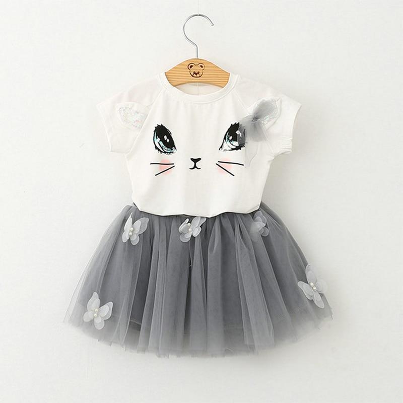 DreamShining Girls Clothes Cute Cartoon Cat Kids Summer Baby T-Shirts + Skirts Suit Princess Mesh Children Clothing Sets 2 Pcs