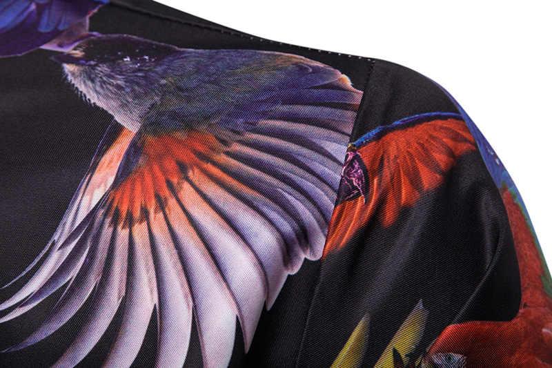 3D オウム動物プリントシャツの男性 2019 ファッションスリムフィット長袖シャツ男性ビジネスカジュアルボタンダウンシャツ camia masculina