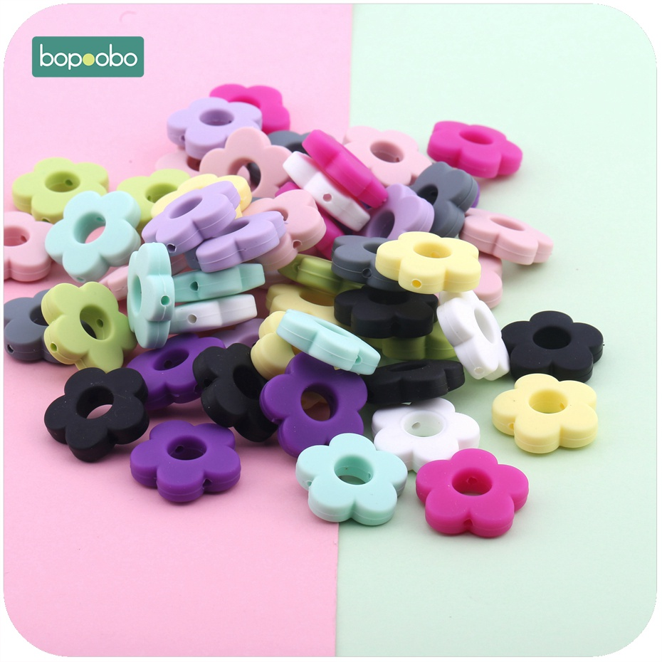 Bopoobo Silicone Beads Flower Holes 5pc Silicone Flower Small 2.5cm DIY Accessories Baby Teething Beads Diy Beads Baby Teether
