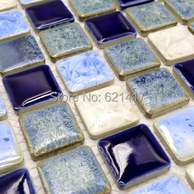 Azul profundo blanco pulido porcelana azulejos de cermica mosaico