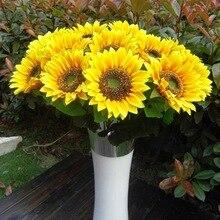 Silk Flower Wall-Decoration Artificial-Sunflower Garden Verandah Home Bedroom Party