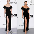 Black Velvet Celebrity Dresses Deep V Neck Flowers Backless Mermaid Slit Sheath Sexy Red Carpet Dresses 2016 Cannes Karlie Kloss