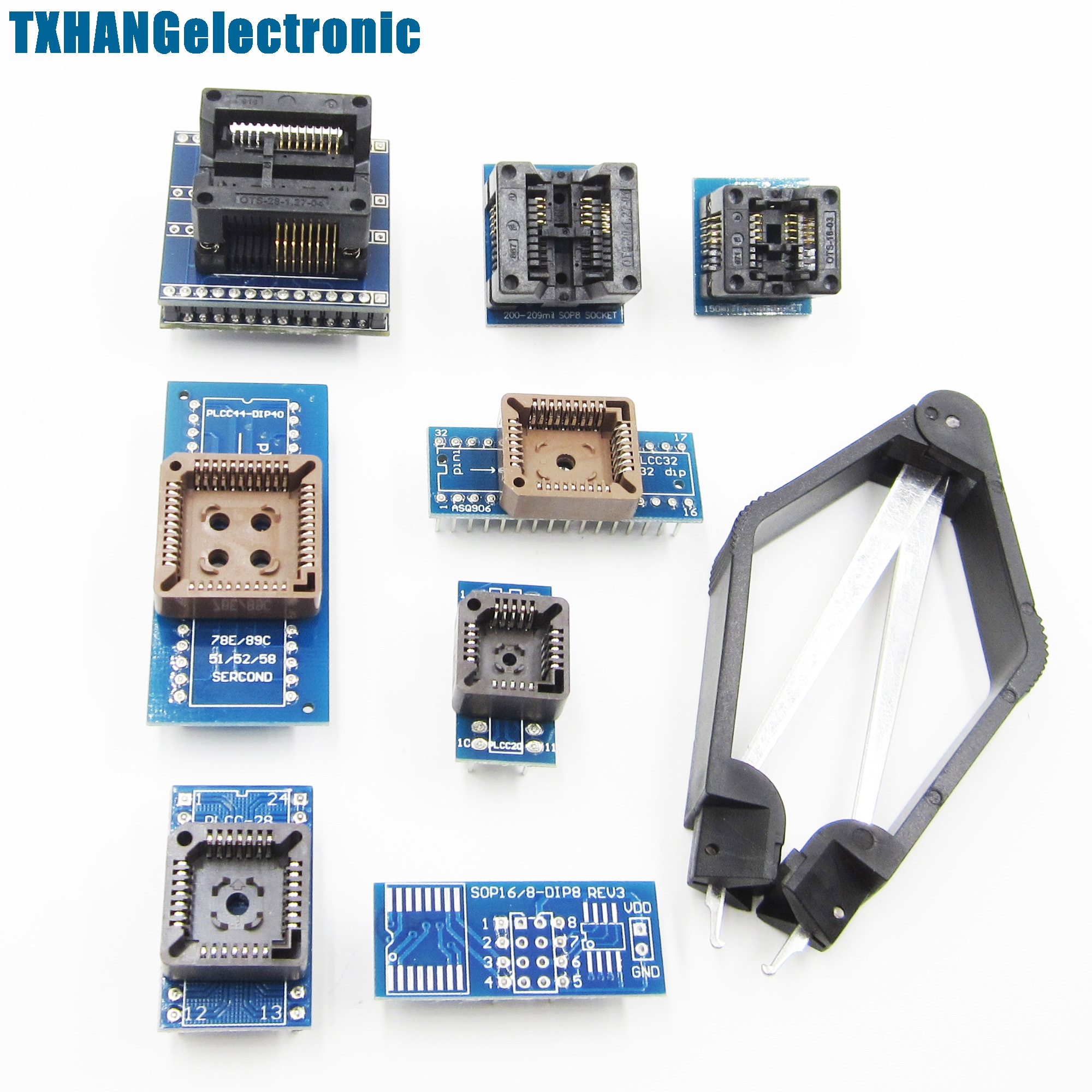 8 Programmer Adapters Sockets Kit for TL866CS TL866A EZP2010 with IC Extractor electronic diy kit