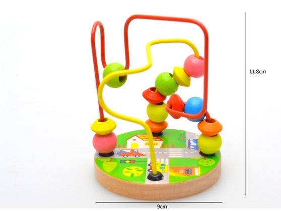 1PC Baby wooden toy Mini around beads Wire maze Colorful Educational game Children Toys NEW HOT