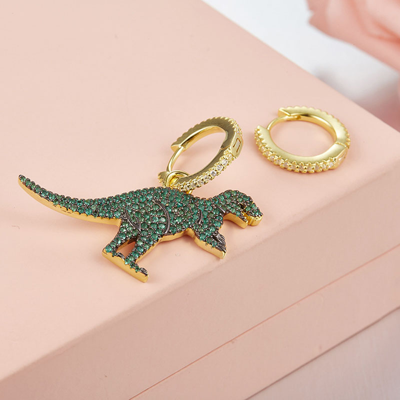 SLJELY Real 925 Sterling Silver Asymmetric Green Dinosaur 