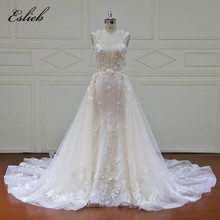 Eslieb Eleganta Avtagbara Tåg Bröllopsklänningar Custom Made Lace Pearls Ärmlös Mermaid Wedding Dress 2018 Vestido de Noiva