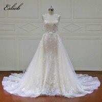 Eslieb Elegant Detachable Train Wedding Dresses Custom made Lace Pearls Sleeveless Mermaid Wedding Dress 2018 Vestido de Noiva