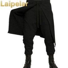 Laipelar крутые Мужские штаны-шаровары в готическом стиле панк, черные, в стиле хип-хоп, уличная одежда, обтягивающие платья, юбка, брюки, брюки, искусственный комплект из двух предметов