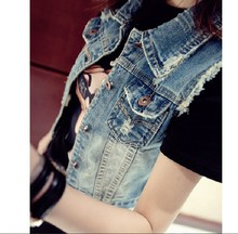 women's jeans and jacket tops short-sleeved denim jacket Spring 2016 women's vintage clothing torn chaquetas index Mujer
