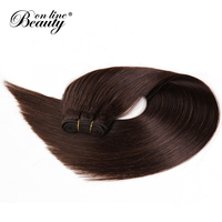 Beauty On Line Hair Straight Peruvian Hair Bundles Dark Brown Color 2 Remy Human Hair Extensions