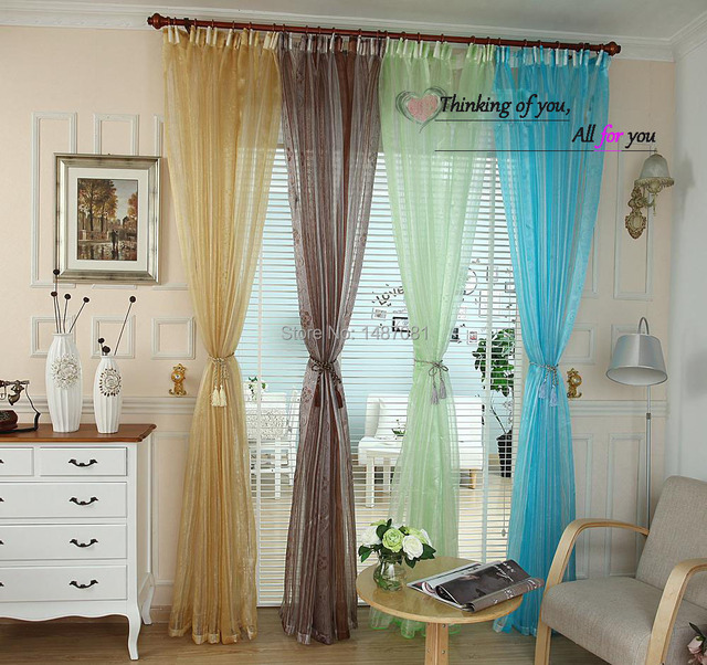 Sale colorful floral  tulle window curtain sheer Curtains for living room the bedroom window Screening panel