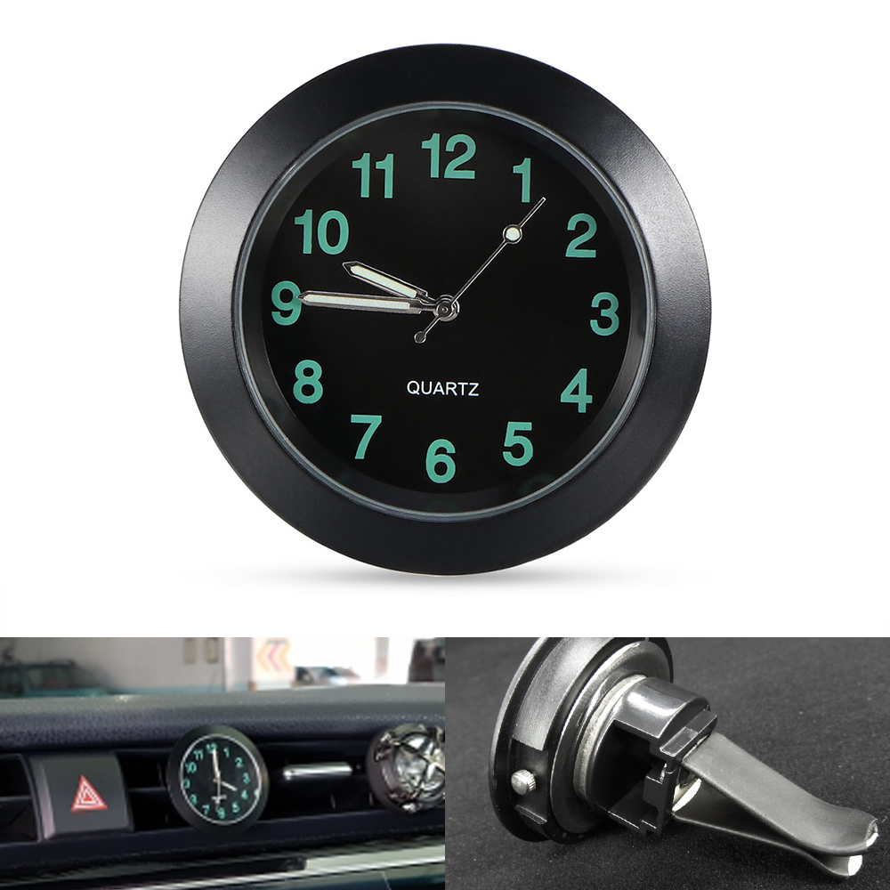 Luminous Auto Gauge Clock Mini Car Air Vent Quartz Clock with clip Auto air outlet Watch Car styling for Audi 100 200 80 Quattro car outlet perfume air freshener with thermometer lime