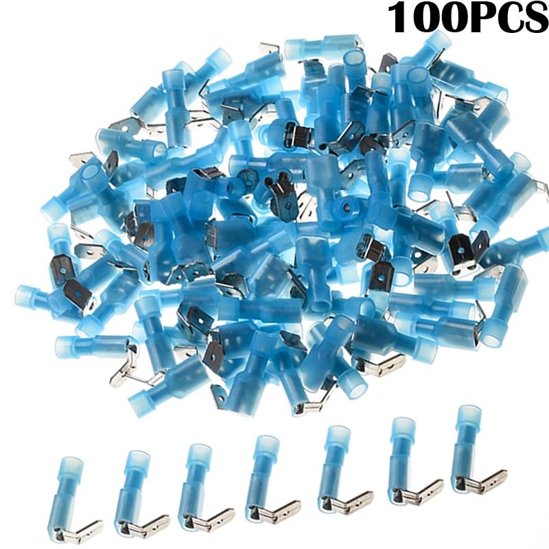 100pcs Blue Insulated Waterproof Piggy Back Terminators Nylon Wire Connectors Kit Humpback Spade Electrical Crimp Terminals 106171 2030[fiber optic connectors bsc back panel adapt k pa mr li