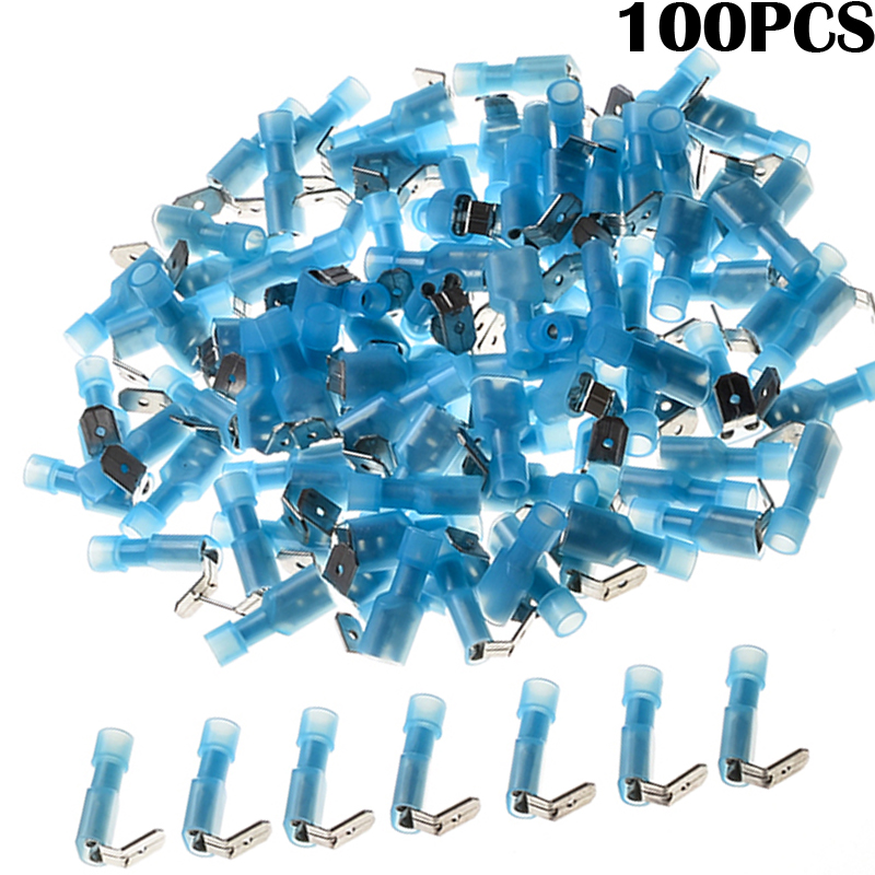YT 100pcs Insulated Waterproof Piggy Back Humpback Spade Terminals Nylon Wire Connectors Kit Cable Electrical Crimp Terminal