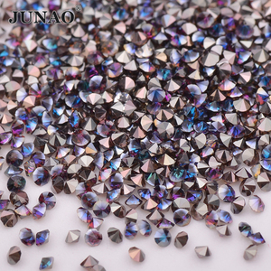 JUNAO мини-стразы из розового золота 1,2 мм, стразы из микро-стекла с блестящим кристаллом, Алмазное украшение для ногтей, 1440 шт.