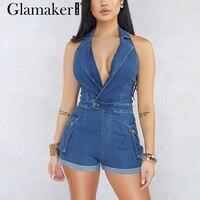 Glamaker V neck denim short jumpsuit romper Women sleeveless halter sexy jumpsuit jeans Female plus size blue playsuit overalls