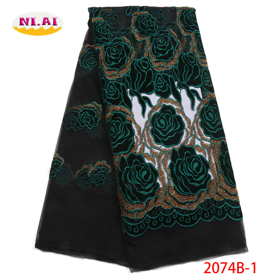 Latest African Lace Fabric 2018 High Quality Lace Nigerian French Green Velvet Cotton Lace Fabrics Material