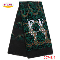 Latest African Lace Fabric 2018 High Quality Lace Nigerian French Green Velvet Cotton Lace Fabrics Material For Dress XY2074B 1