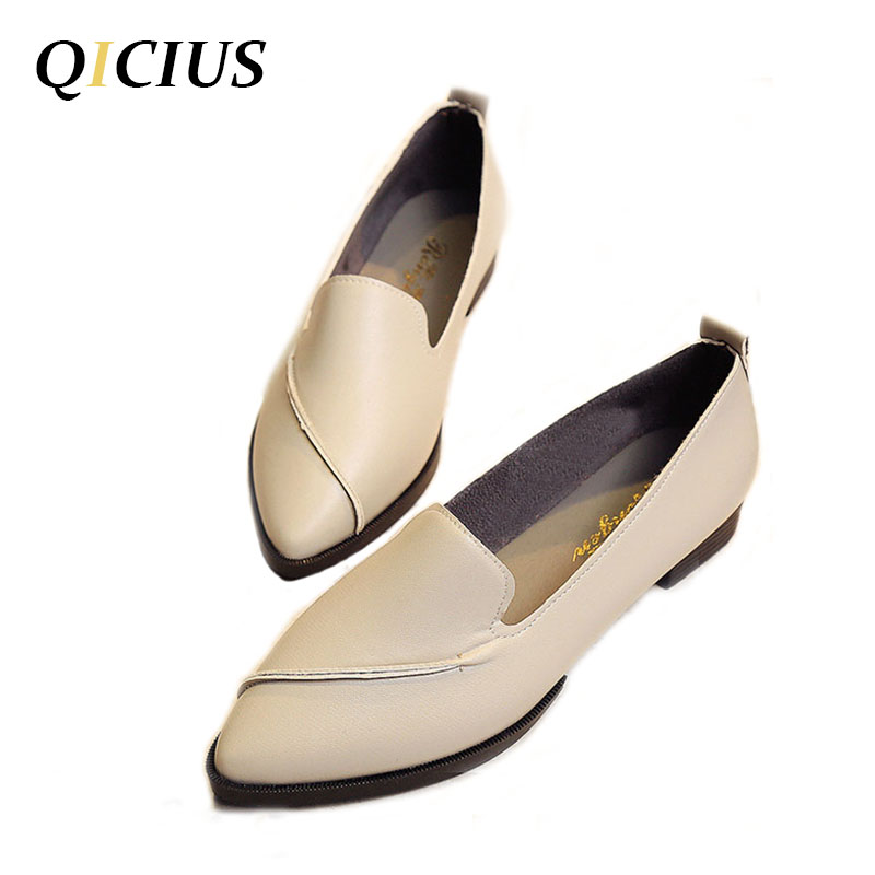 QICIUS 2018 New Spring Women Flats Leather Pointed Toe Flats Woman Casual Shoes Oxfords With Sewing Flats Shoes B0007 cresfimix women cute spring summer slip on flat shoes with pearl female casual street flats lady fashion pointed toe shoes