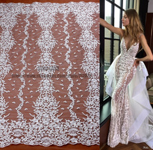 1 yard off white super heavy embroidery  wedding dress lace fabric sequins rayon high quality bride 130cm width SN170807