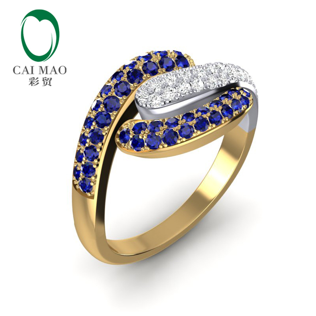 795d4fadb00d2 US $959.0 |Caimao 14K Multi tone Gold 0.65ct Blue Sapphire & 0.27ct  Diamonds Wedding Band Ring-in Rings from Jewelry & Accessories on  Aliexpress.com | ...