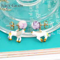 Juicy Grape Korean Earrings stud hand painted enamel unicorn earring women earring girl gift earrings cracked resin stone stud