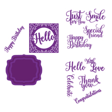 Hello Smile Happy birthday Words Frame Metal Cutting Dies for Scrapbooking DIY Album Paper Card Making Decoration New 2019