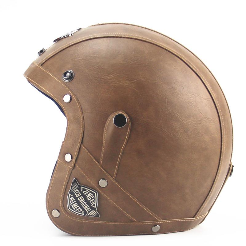 Prix pour Adulte En Cuir Harley Casques 3/4 Casque de Moto de Haute qualité Moto Chopper casque ouvert visage vintage moto casque motocros
