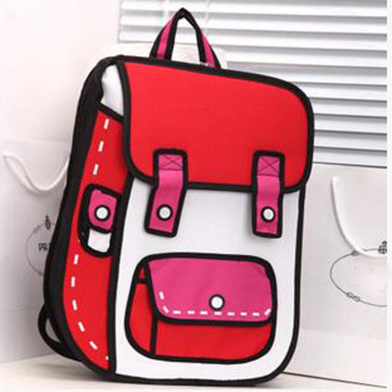 2019 New 3d Jump Style 2d Drawing Cartoon Paper Bag Comic Backpack Messenger Tote Fashion Cute Student Bags Unisex Bolos 4colors #4