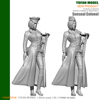 1/18 German Sexy Female Officer Resin Soldier with 2 head 90mm YFWW 1813