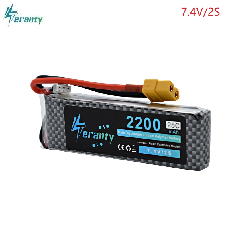 High Power <font><b>2S</b></font> 7.4v <font><b>2200mAh</b></font> 25-35C <font><b>LiPo</b></font> Battery XT60/T/JST/EC3 Plug 7.4v Rechargeable <font><b>Lipo</b></font> Battery For RC Car Airplane Helicopter image