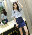 Más el tamaño 2 unidades set mujeres trajes de verano 2016 de corea de las mujeres estilo de la borla del verano camisas de mezclilla delgada falda femenina falda conjunto A0856