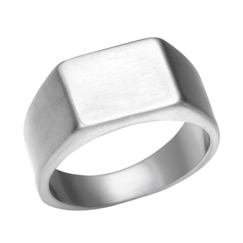 Pinky Ring Rectangle Stainless Steel Band Big Rings Steel God Color Signet Polished Biker Bague Party Jewelry Anillos