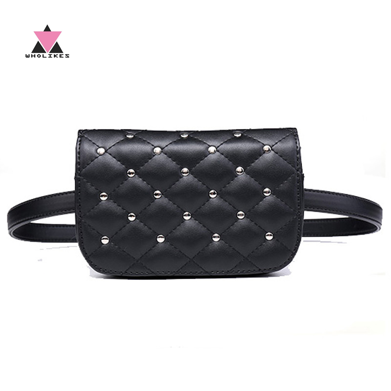 Wholikes 2018 Ny mode svart solid läder midja väska för kvinnor - Bälten väskor - Foto 1