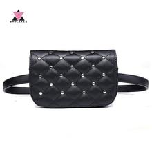 Whiwes 2018 Nová móda černá pevná kožená pasová taška pro ženy Fanny Pack taška na paušální tašku s telefonem Bolosa
